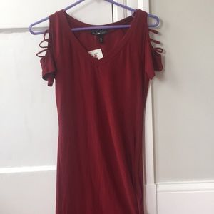 Red vneck dress, caged short sleeves, size medium